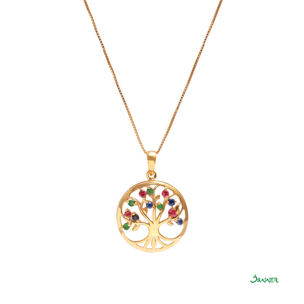 Emerald,Ruby,Sapphire Tree of Life Pendant