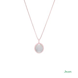 White Jade and 18K Rose Gold Pendant