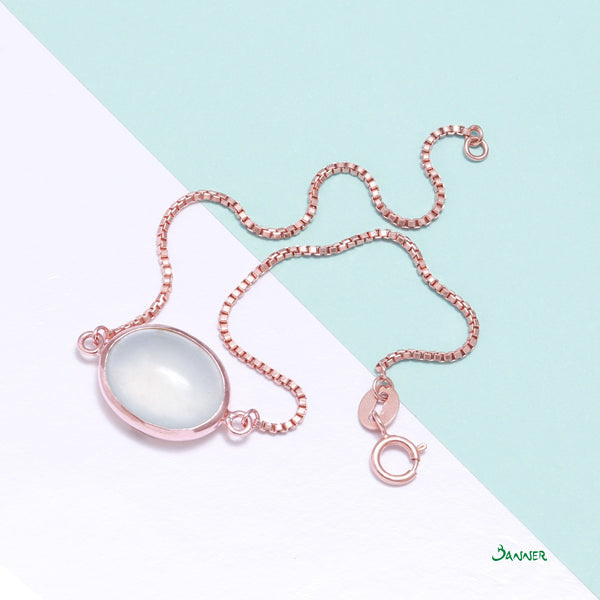 White Jade and 18K Rose Gold Chain