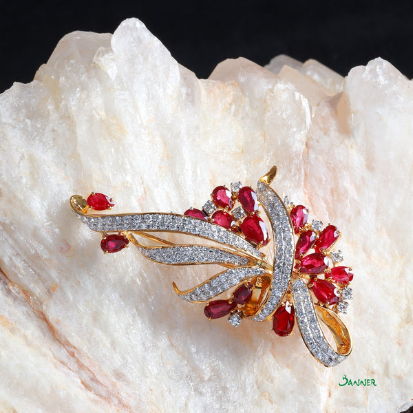 Ruby and Diamond Pan-Khat Brooch