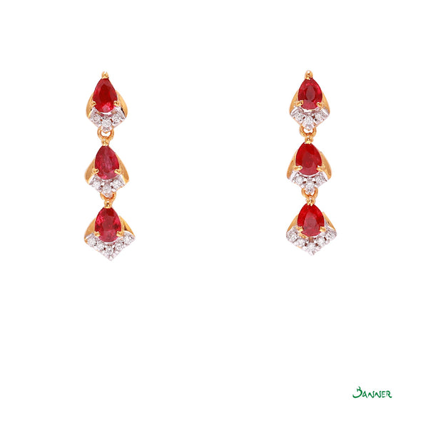 Ruby and Diamond Raindrop  Earrings