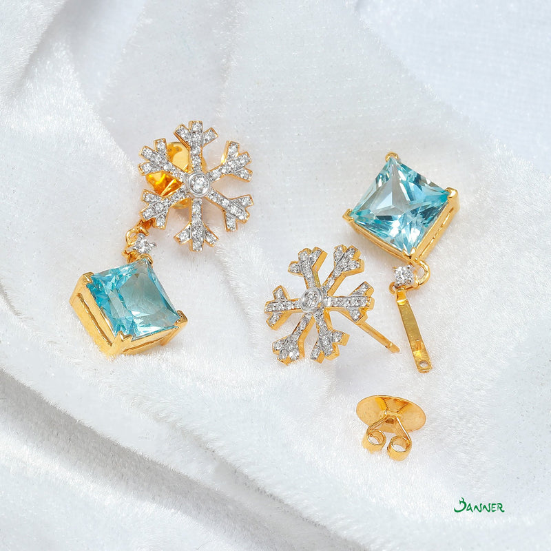 Blue Topaz and Diamond Snow Flake Earrings
