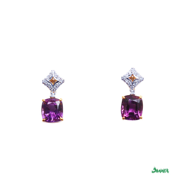 Amethyst and Diamond Flower Earrings