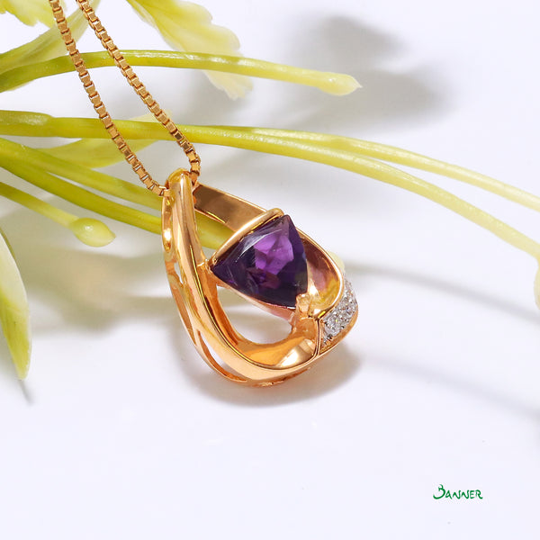 Amethyst and Diamond Triangle Pendant