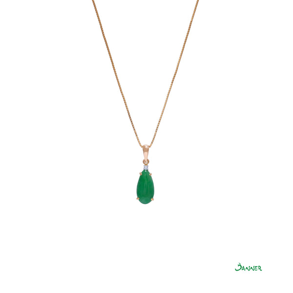 Teardrop Jade and Diamond Pendant