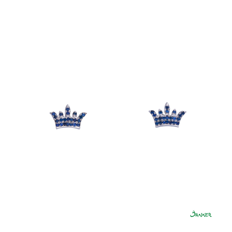 Sapphire Crown Earrings