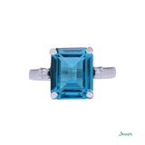 Blue Topaz Emerald Cut and Diamond Ring