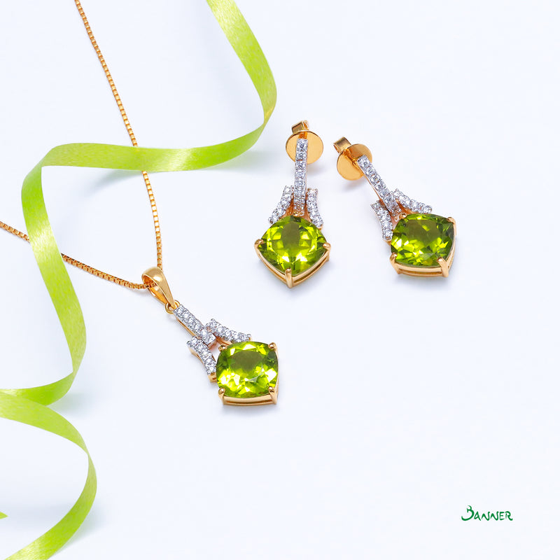 Peridot and Diamond Earrings