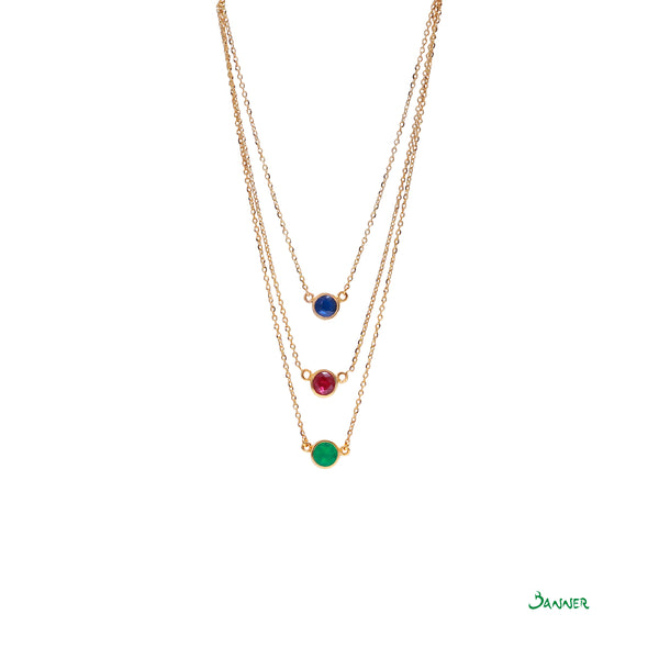 Emerald Ruby Sapphire 3-Step Necklace