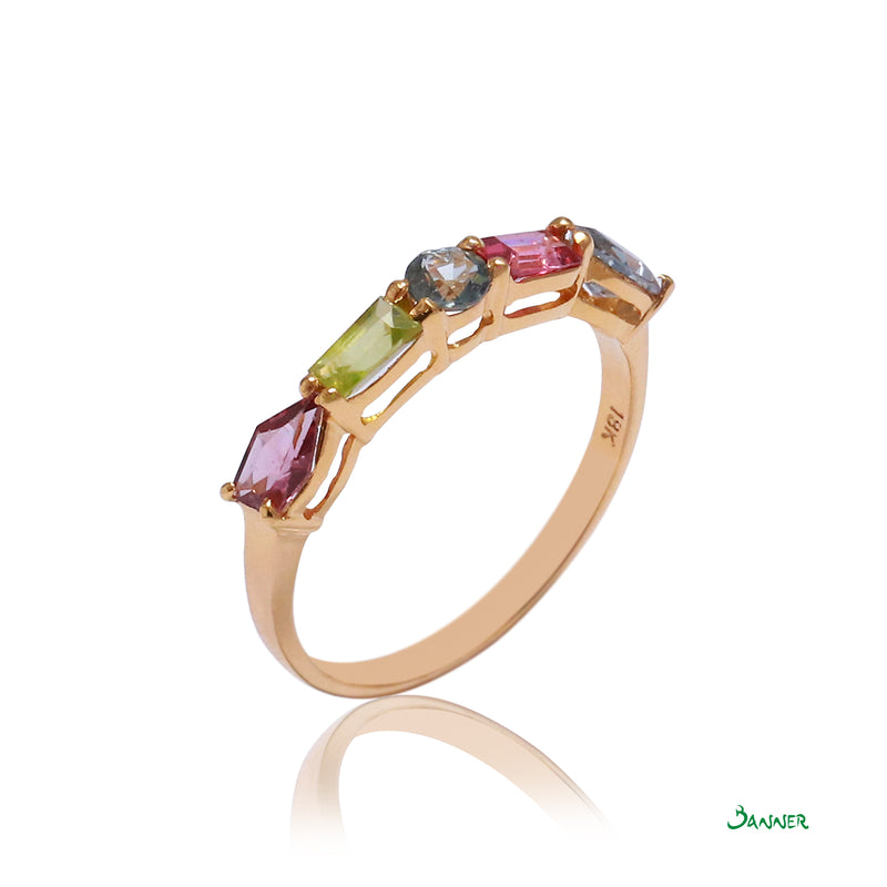 Assorted Gems Channel Ring