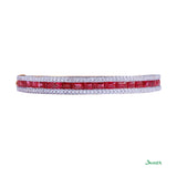 Ruby Emerald-cut and Diamond Bracelet