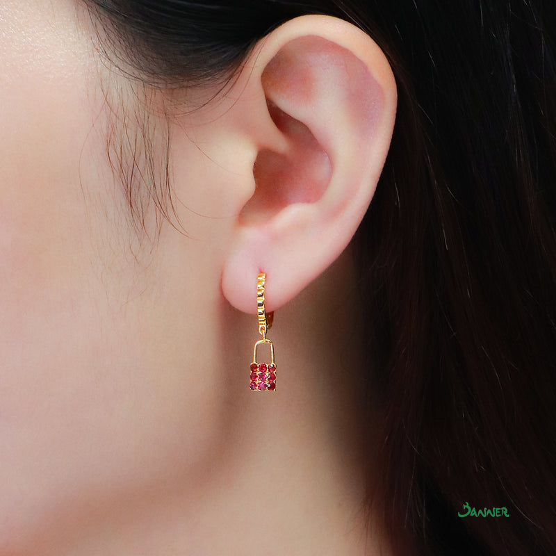 Lock Ruby Earrings