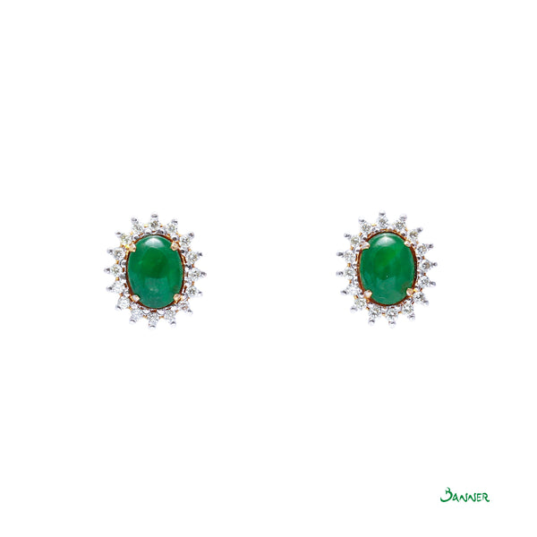 Jade and Diamond Sunflower Earrings