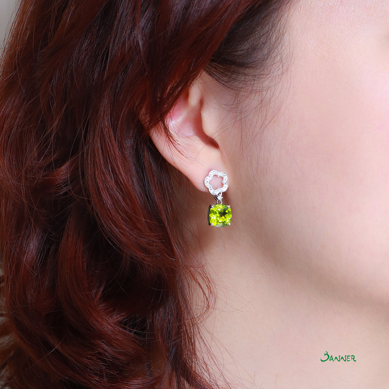 Peridot and Diamond Flower Earrings