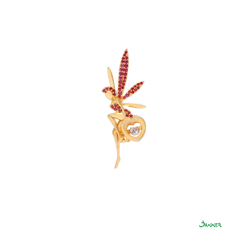 Ruby and Diamond Tinkerbell Fairy Brooch
