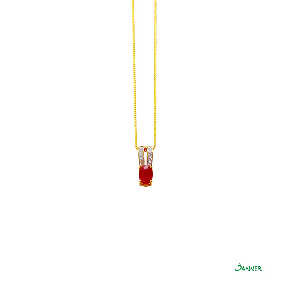 Ruby and Diamond 2 Rows Pendant