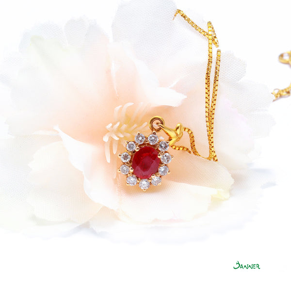 Ruby and Diamond Sunflower Pendnat