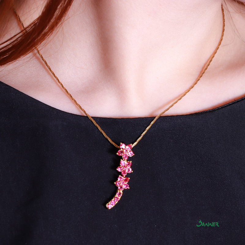 Ruby Flower Pendant