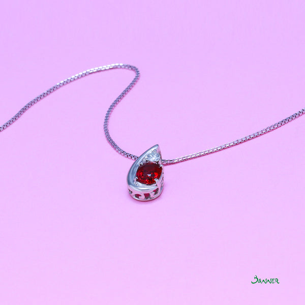 Ruby and iamond Raindrop  Pendant