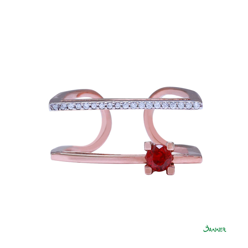 Ruby and Diamond Violin Ring