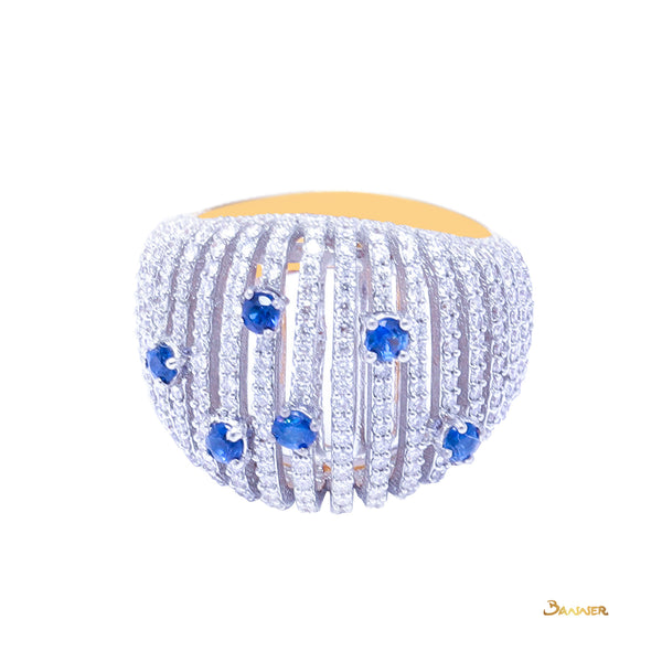 Sapphire and Diamond Starry Night Ring