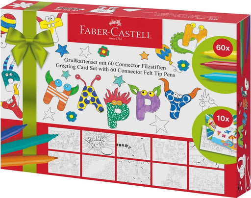 "FABER CASTELL Set 10 cartoline colorabili ""Greeting Cards"" con 60 pennarelli Connector Pennarelli colorati Cartoleria Soluzione - Milazzo, Commerciovirtuoso.it"