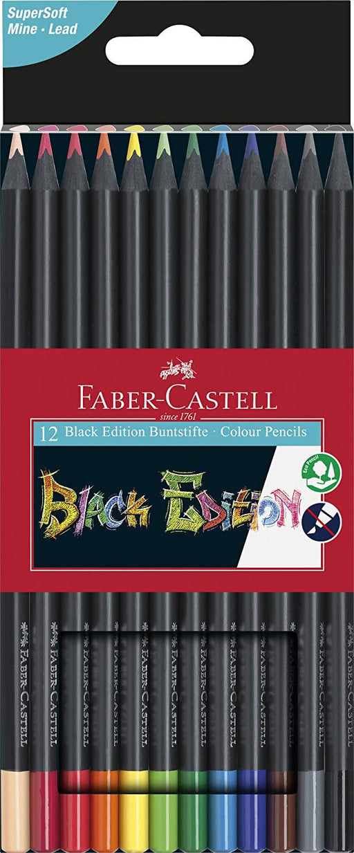 FABER CASTELL Astuccio con 12 matite colorate Black Edition Matite colorate Cartoleria Soluzione - Milazzo, Commerciovirtuoso.it
