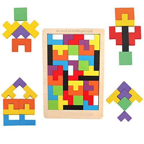 Gioco in legno con combinazioni Puzzle di legno Tetris Tangram giocattoli per i bambini Colorato puzzle di legno educativi regalo Russian block Papau - Giammoro, Commerciovirtuoso.it