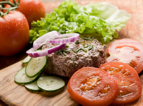 keto diet meat and salad platter