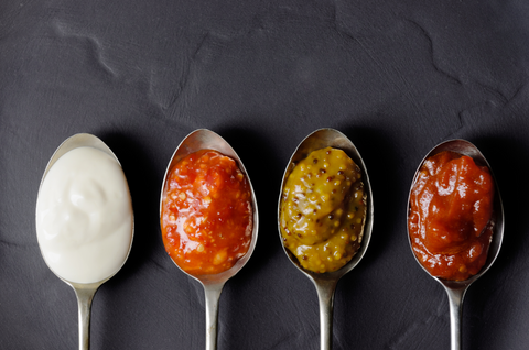 keto condiments spoonfuls in a row