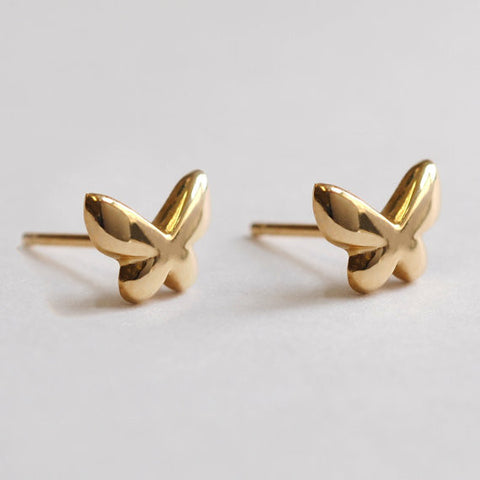 Gold Butterfly Stud Earrings - One Pair