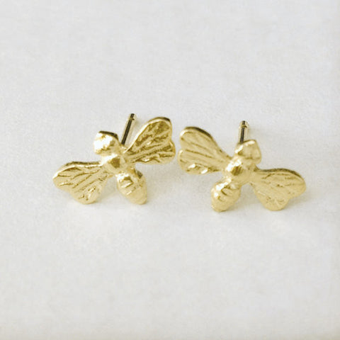 Gold Bee Stud Earrings - One Pair