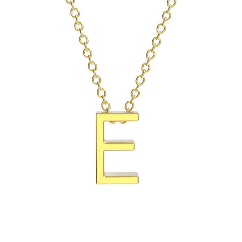 14K Yellow Gold Block Letter
