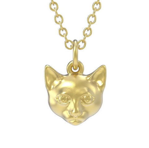 Solid 14K CAT Pendant