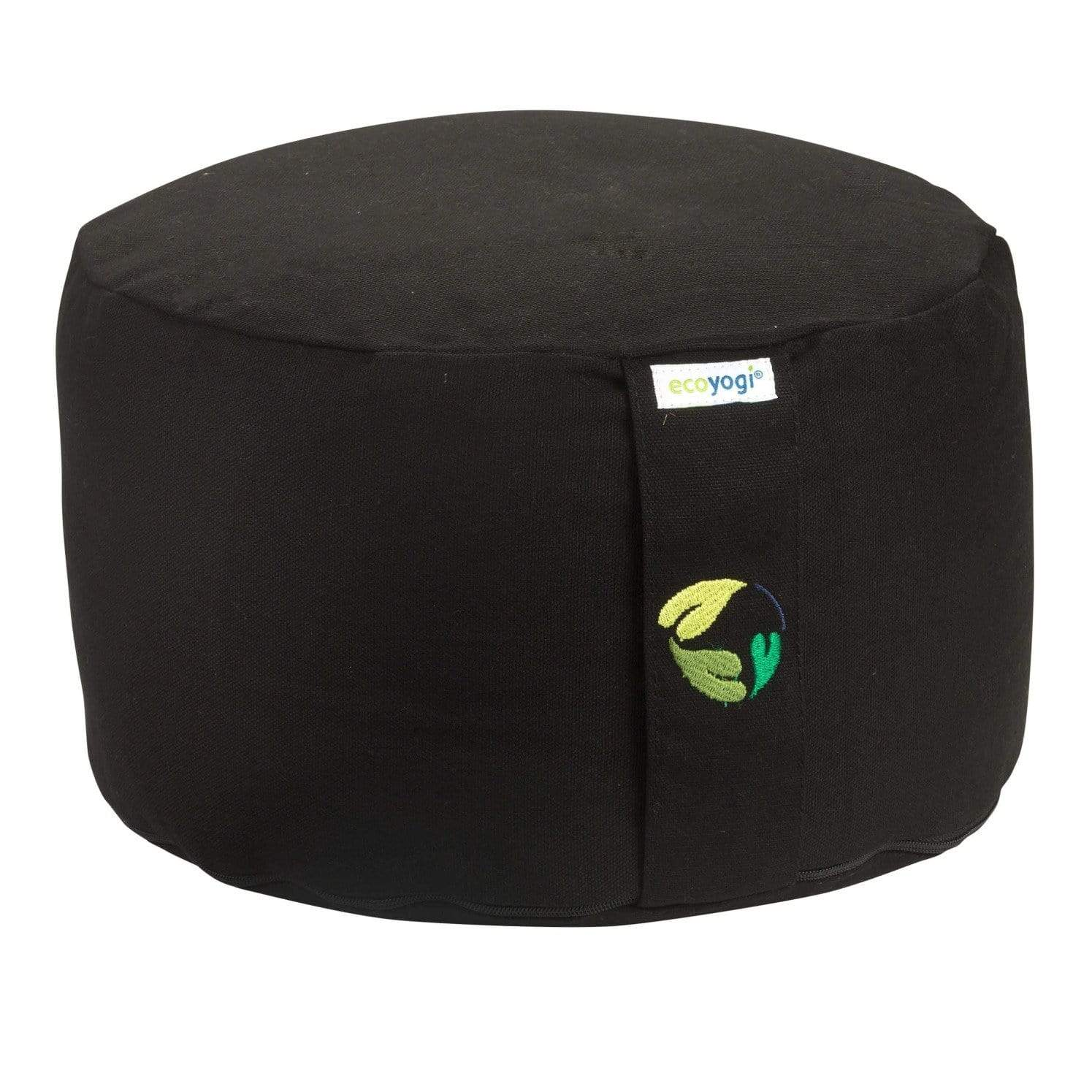 Sustainable meditation cushion in black made of organic cotton (GOTS certified) and filling in natural purified buckwheat chaff