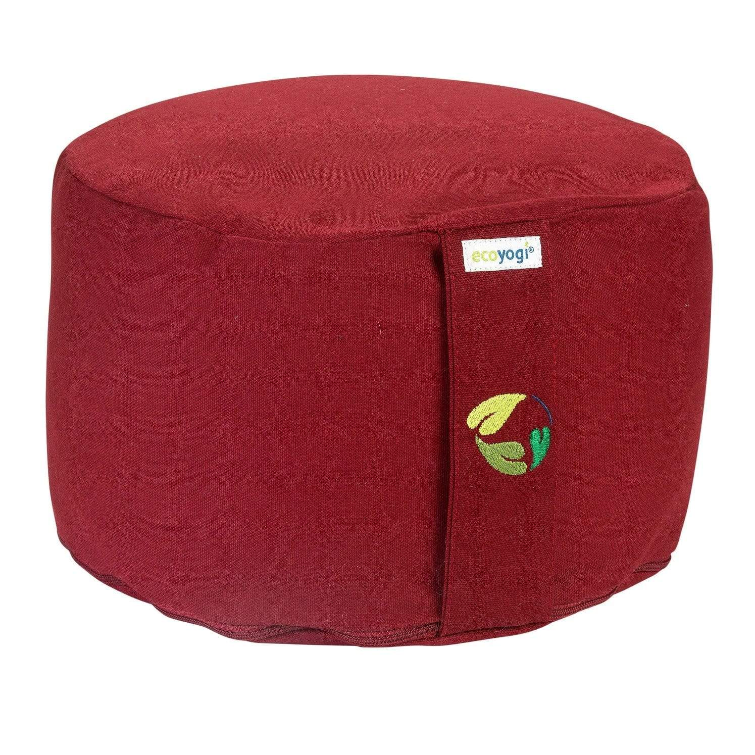 Sustainable meditation cushion in bordeaux made of organic cotton (GOTS certified) and filling in natural purified buckwheat chaff