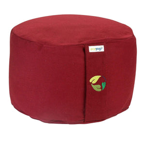 sustainable gifts Ecoyogi Bordeaux Organic cotton meditation cushion high - bordeaux