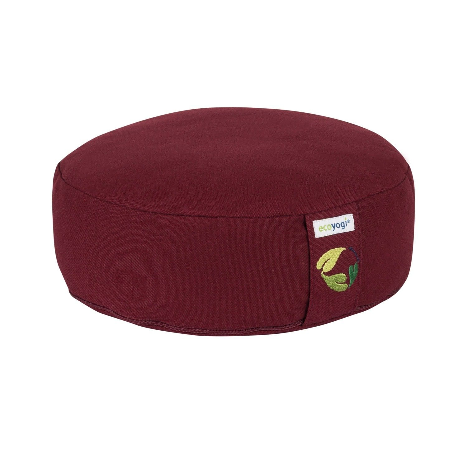 Sustainable meditation cushion low made of organic cotton (GOTS certified) and filling in natural purified buckwheat chaff bordeaux