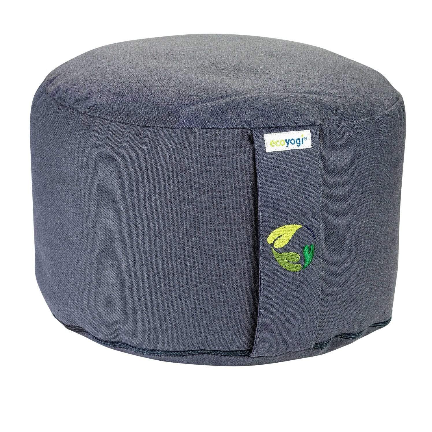 Sustainable meditation cushion in grey made of organic cotton (GOTS certified) and filling in natural purified buckwheat chaff