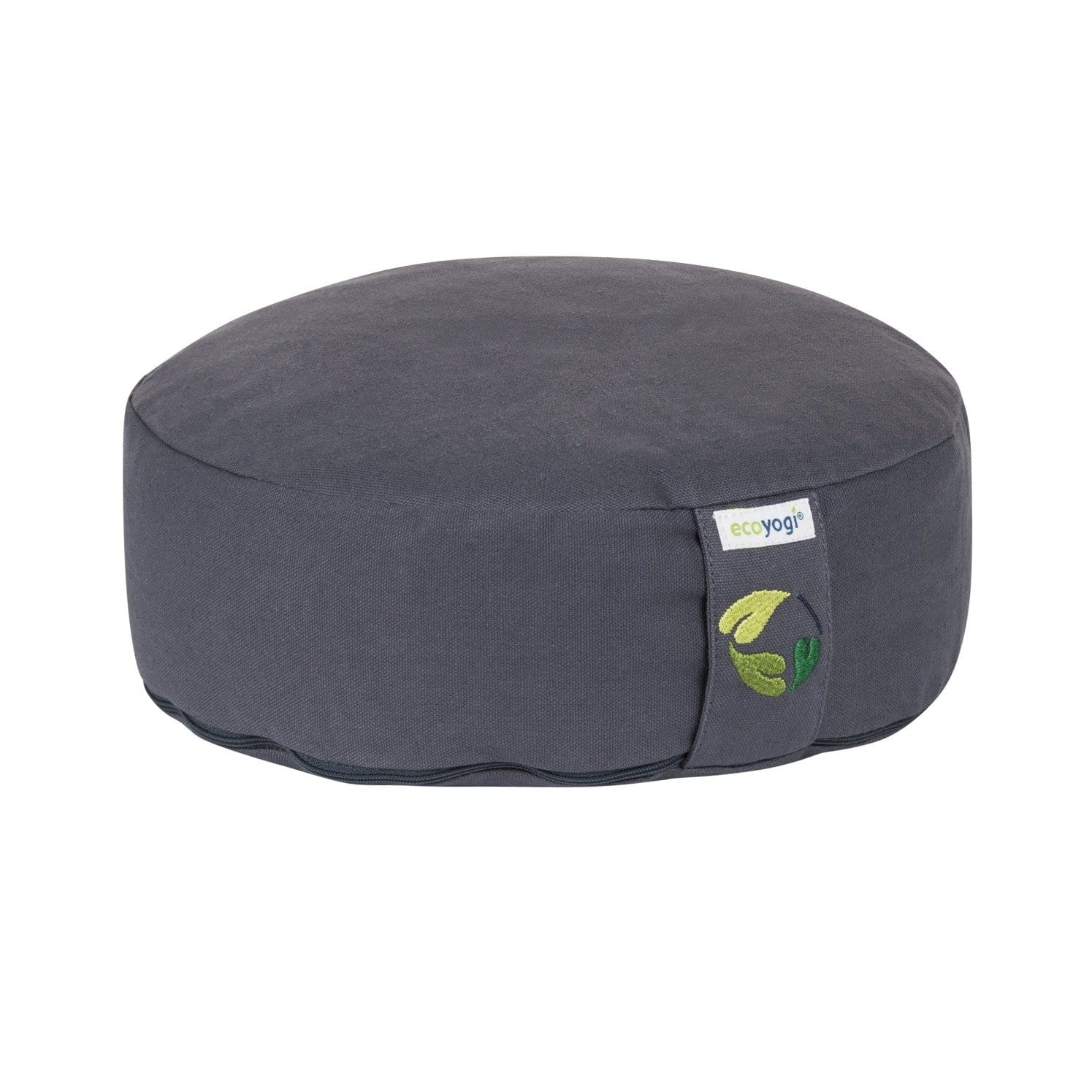 Sustainable meditation cushion low made of organic cotton (GOTS certified) and filling in natural purified buckwheat chaff grey