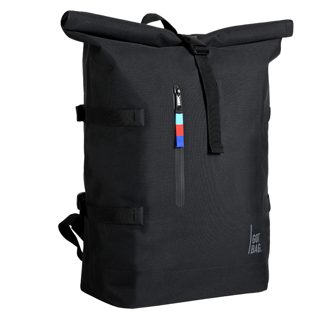 sustainable gifts Got Bag Upcycled Indonesian marine plastic rolltop backpack - black
