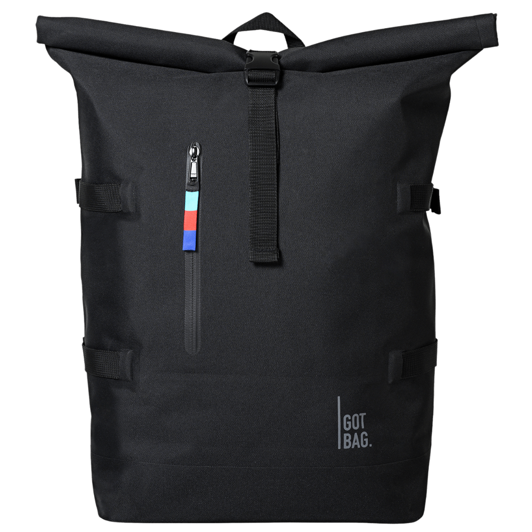 Black rolltop Got bag first backpack of ocean plastics front view