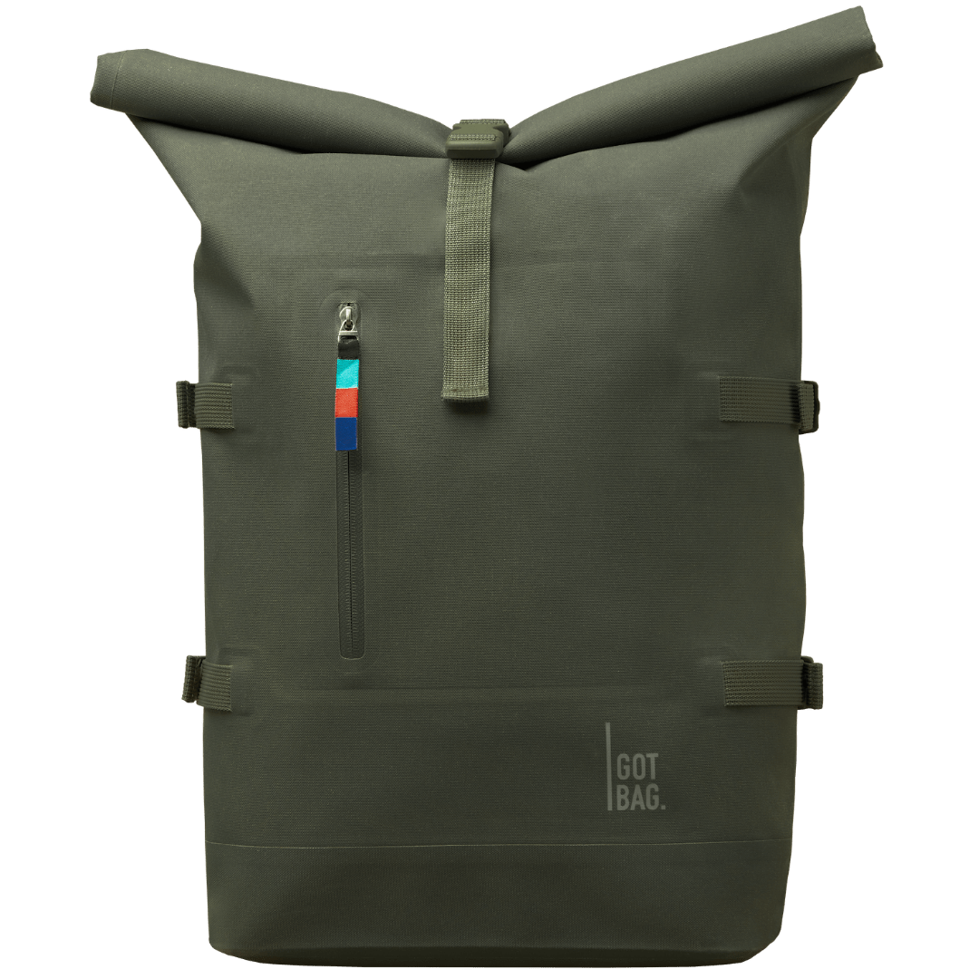 sustainable gifts Got Bag Upcycled plastic rolltop backpack - algae