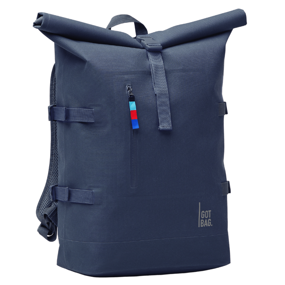 sustainable gifts Got Bag Upcycled plastic rolltop backpack - blue