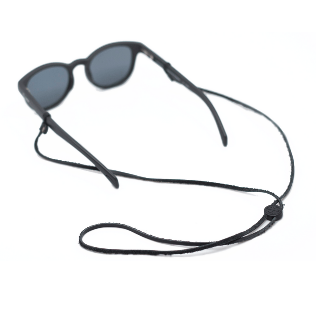 sustainable gifts Karun Upcycled fishing nets glasses strap - black leather