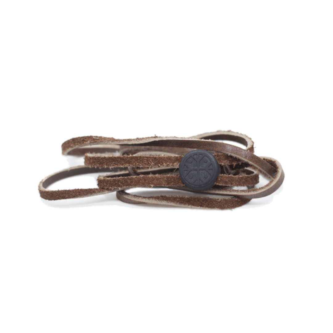 sustainable gifts Karun Upcycled fishing nets glasses strap - leather brown