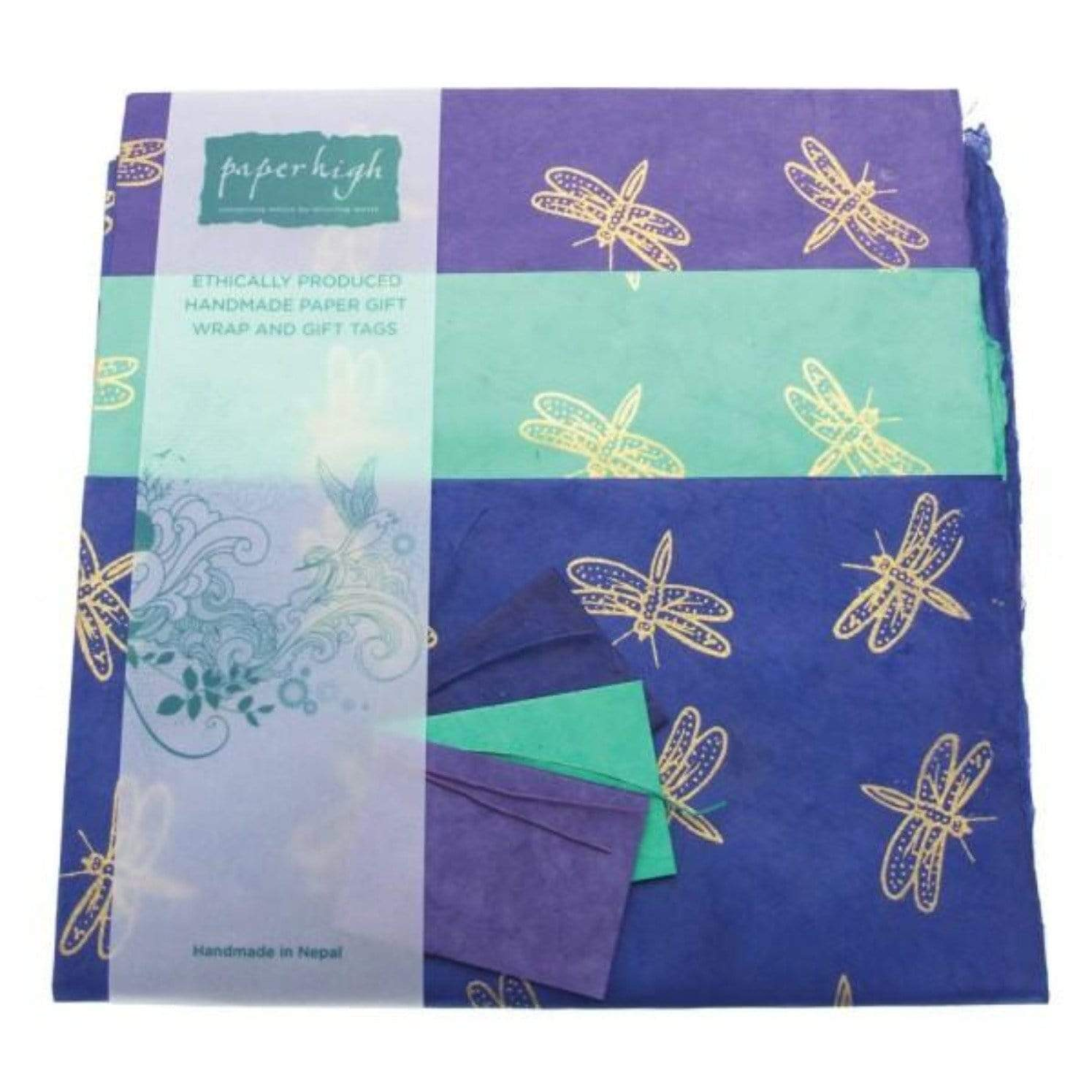 sustainable gifts Paper High Dragonfly Lokta paper gift wrap with tags