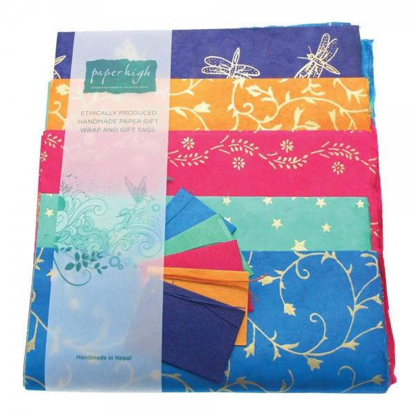 Fair trade handmade giftwrap pack with tags in lokta paper