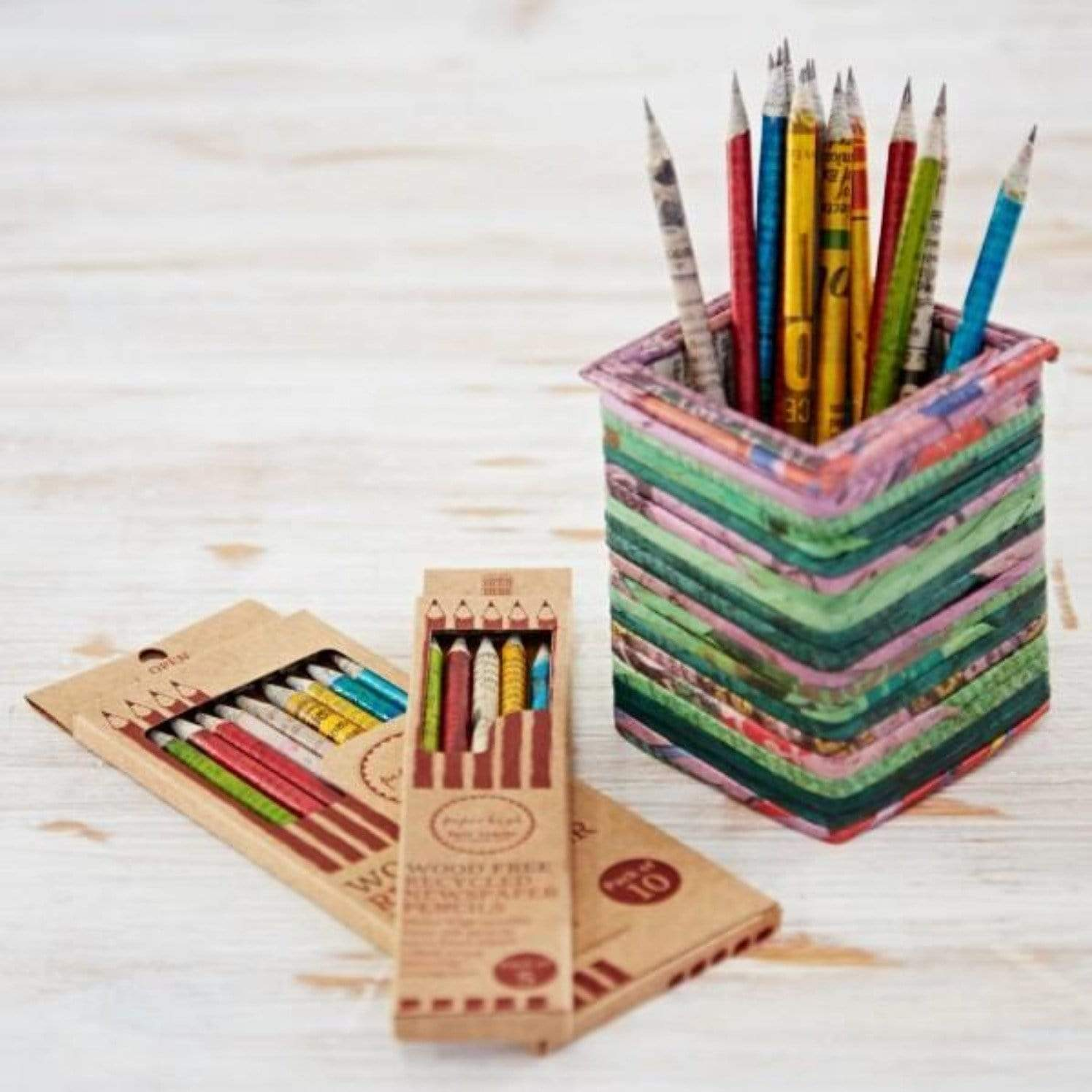 sustainable gifts Paper High Recycled newspaper set of 10 pencils