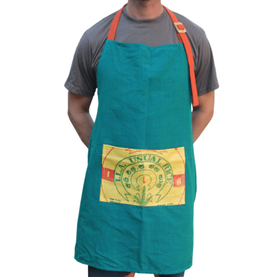 sustainable gifts Rice & Carry Upcycled rice sacks gardening apron